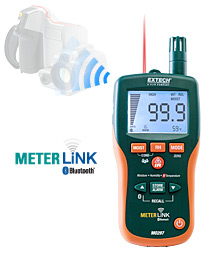 Extech MO297: Pinless Moisture Psychrometer with IR Thermometer and Bluetooth MeterLink