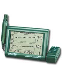 Extech RH520A-220: Humidity+Temperature Chart Recorder with Detachable Probe (220V)